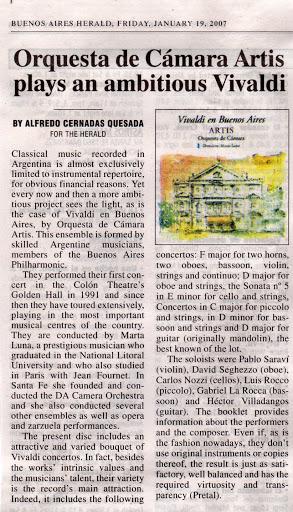 Album - Vivaldi en Buenos Aires / Buenos Aires Herald